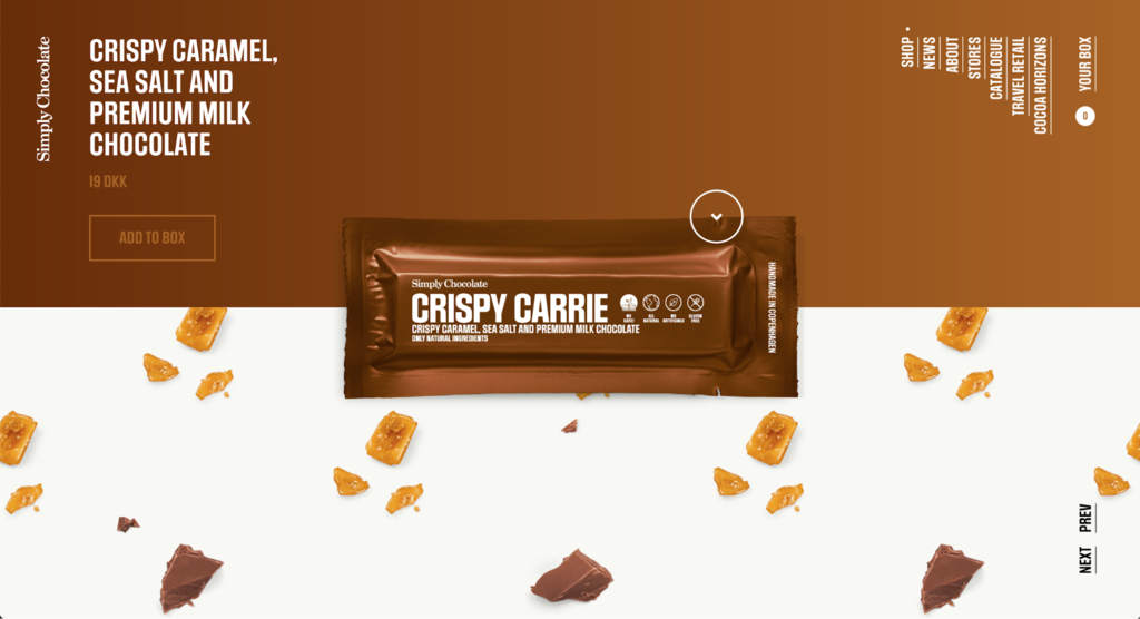 Ejemplos de sitios web de comercio electrónico de Simply Chocolate