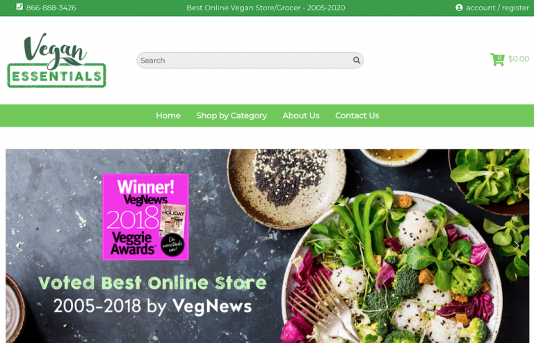 Sitio web de Vegan Essentials