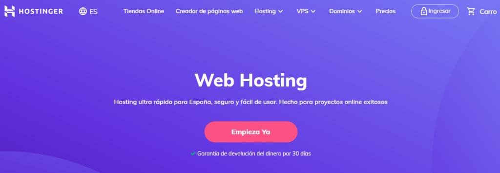 Página de inicio de Hostinger para alojamiento web vs dominio
