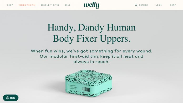 Ejemplos de sitios web de comercio electrónico mínimos de Welly