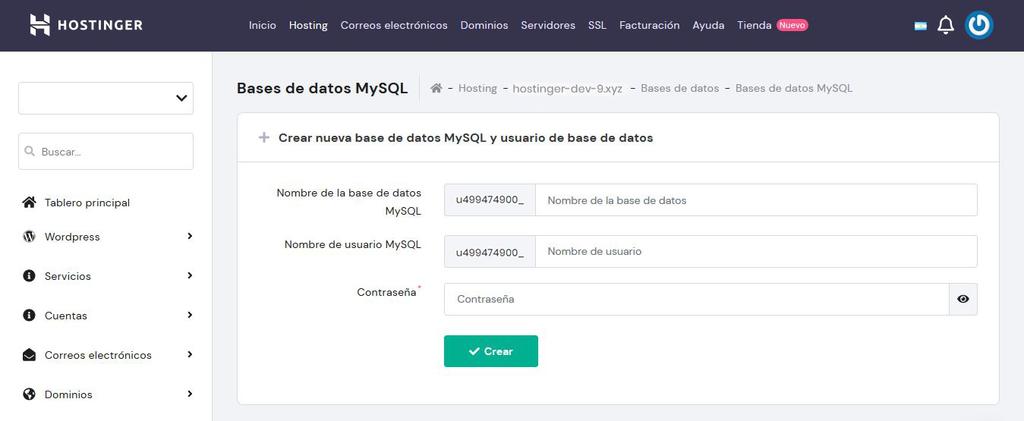 Menú MySQL del hPanel de Hostinger para crear una base de datos MySQL
