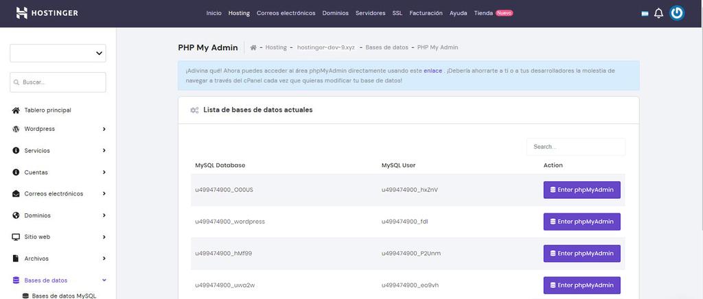 Menú phpMyAdmin en el hPanel para crear una tabla para CodeIgniter