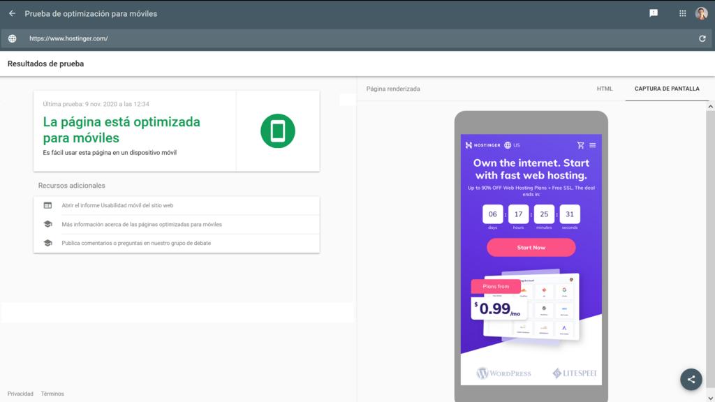 Herramienta de optimización para móbiles de Google