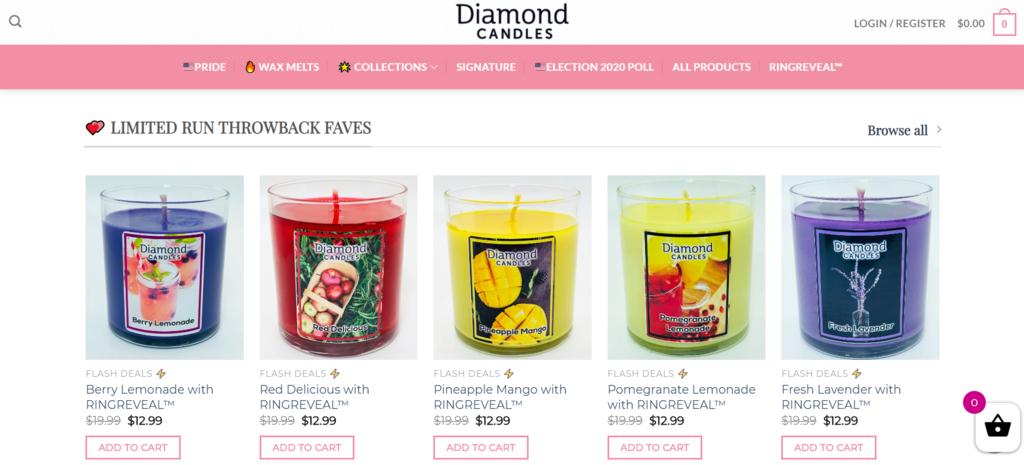 Caso de estudio de eCommerce B2C Diamond Candles con email marketing