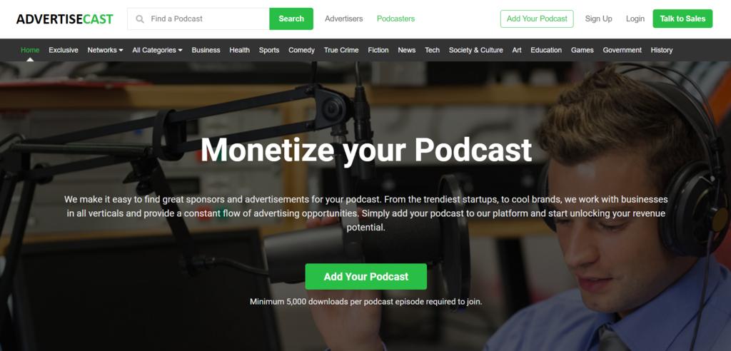 Página de inicio de AdvertiseCast, una red de publicidad de podcasts en ideas de negocios pequeños