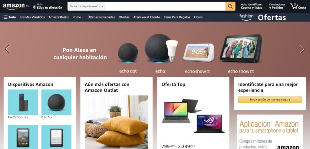 Página de inicio de Amazon eCommerce
