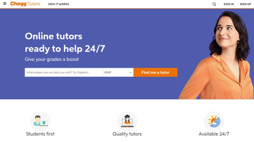 Página web de Chegg tutors