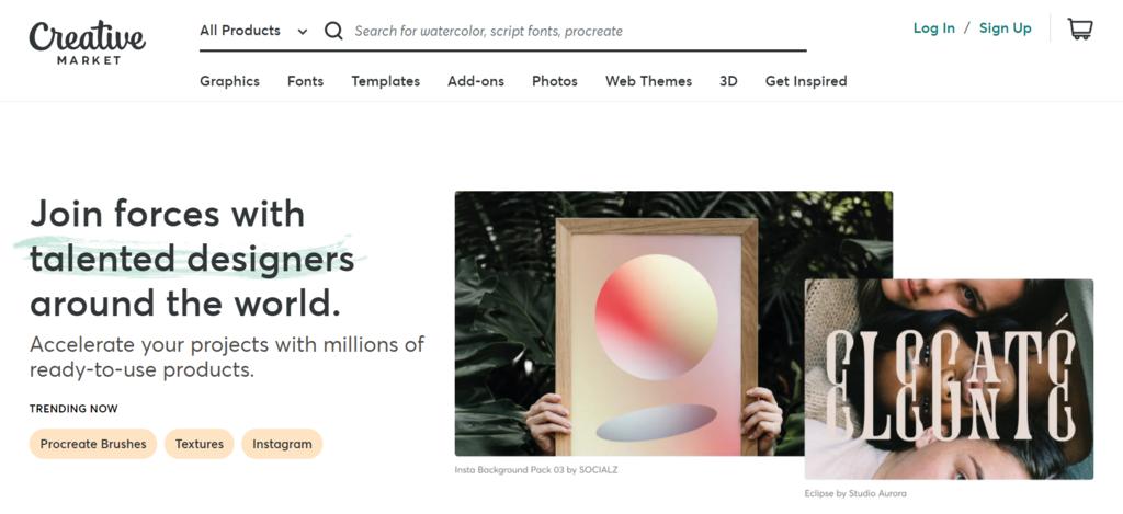 Página de inicio de Creative Market, un marketplace para pequeños negocios de creadores