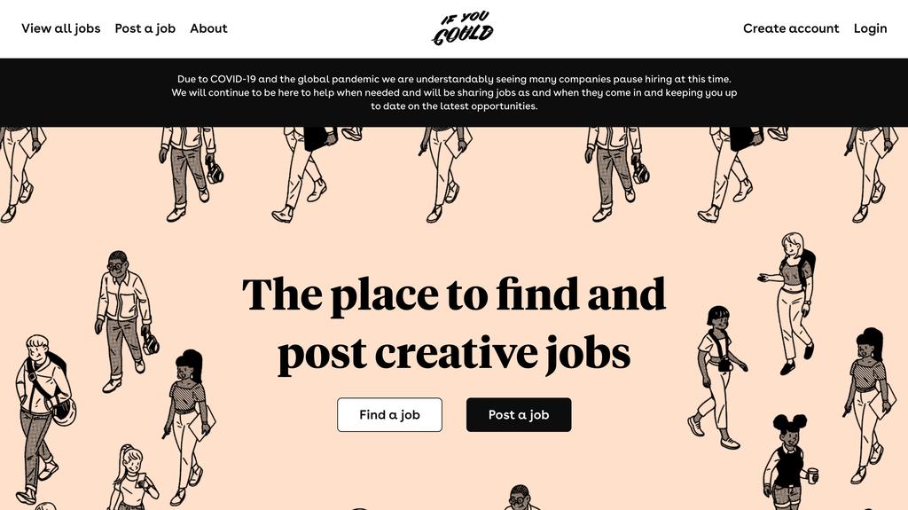 Página de inicio de If you could, un portal de trabajos para creadores