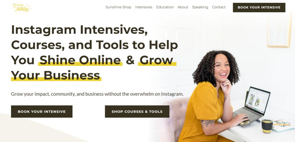 Página de inicio de Sol Studio, un pequeño negocio de manejo de redes sociales