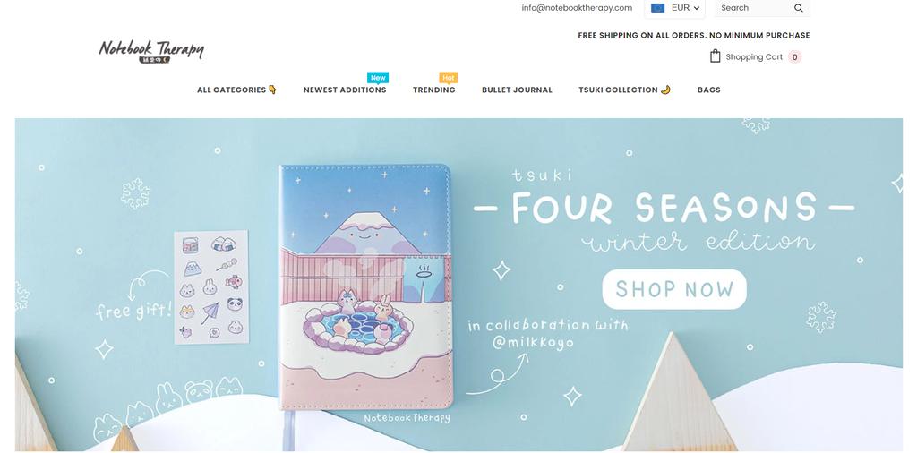 Página de inicio de Notebook Therapy, un negocio de dropshipping en ideas de negocios pequeños