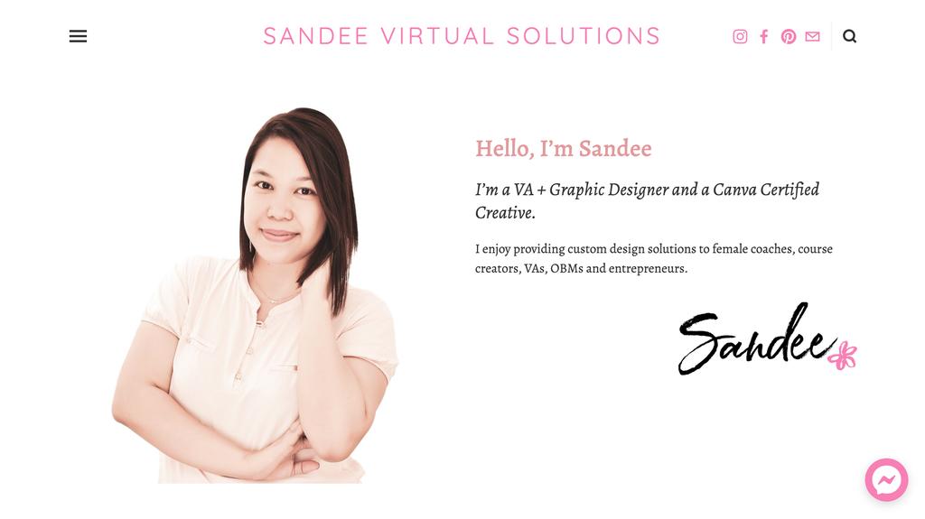 Página web de Sandee, dueña de un pequeño negocio de asistencia virtual