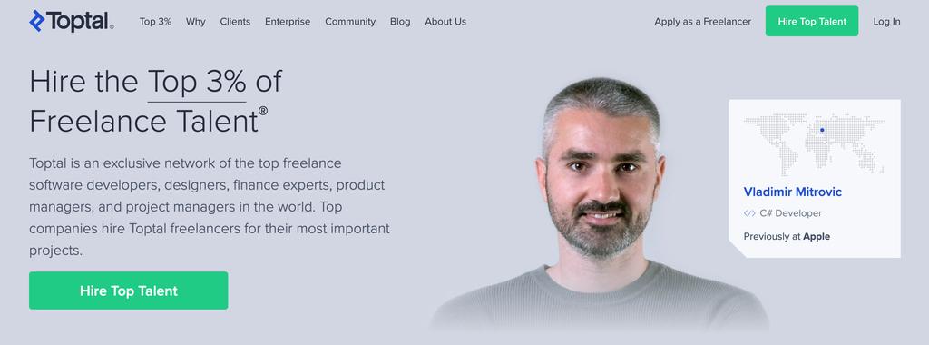 Página de inicio de Toptal, un portal exclusivo para freelancers