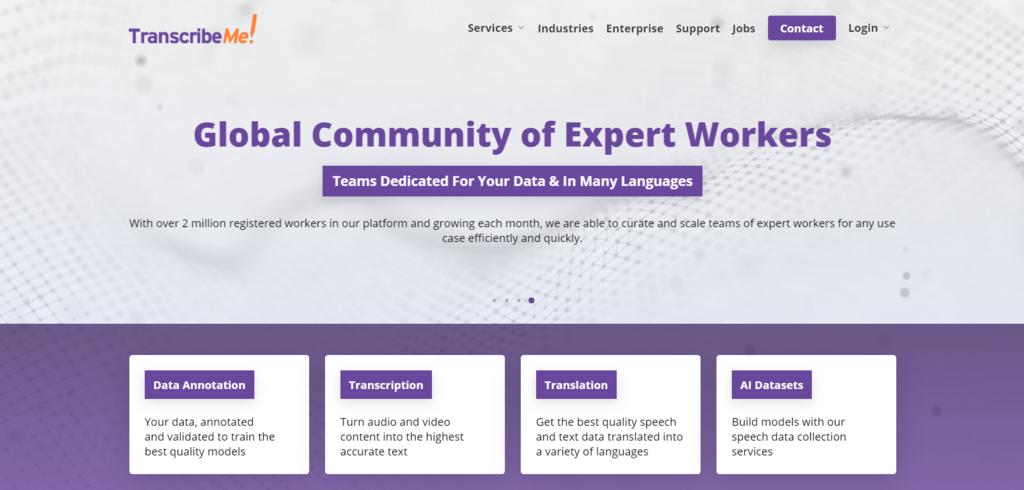 Página de inicio de Transcribeme, un sitio web para trabajos de transcripción