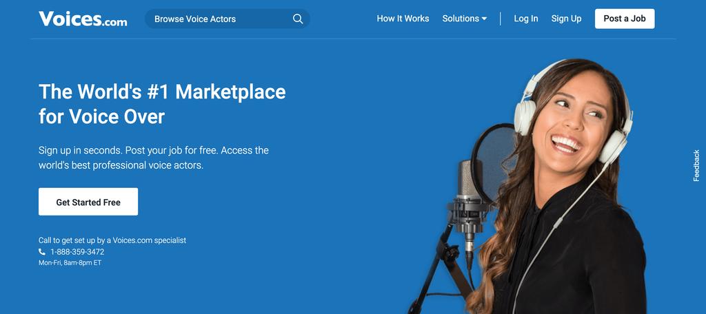 Ideas de negocios pequeños: Página de incio de Voices.com, un sitio web para actores de voz freelance