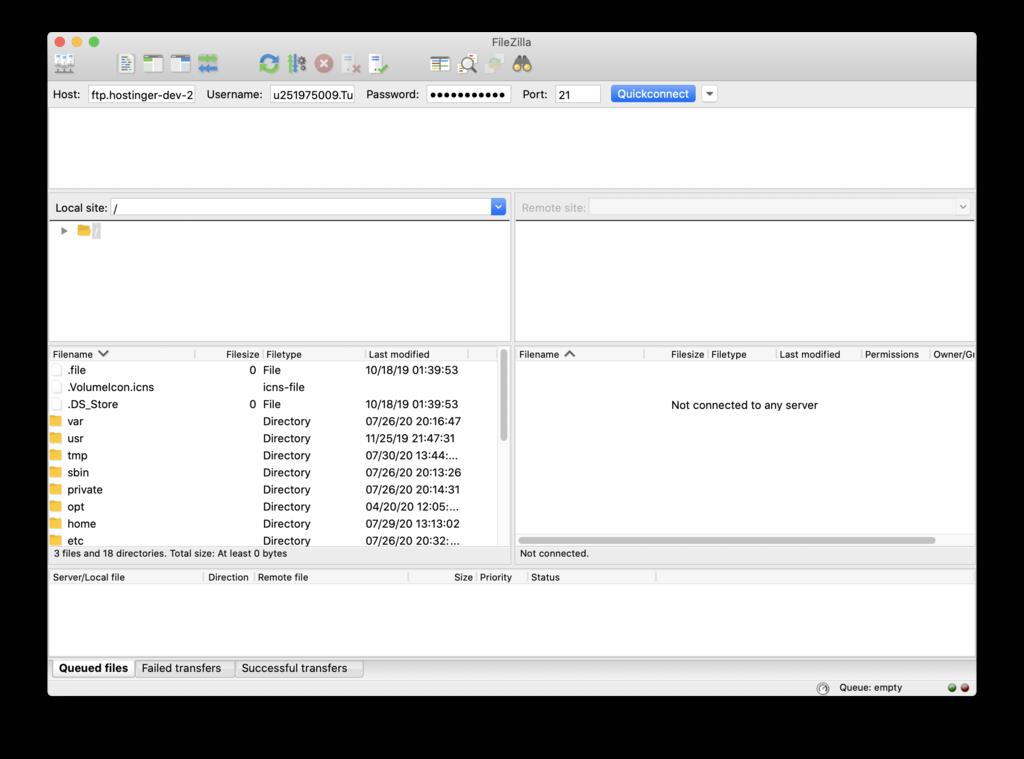 Botón Quickconnect en el inicio de Filezilla