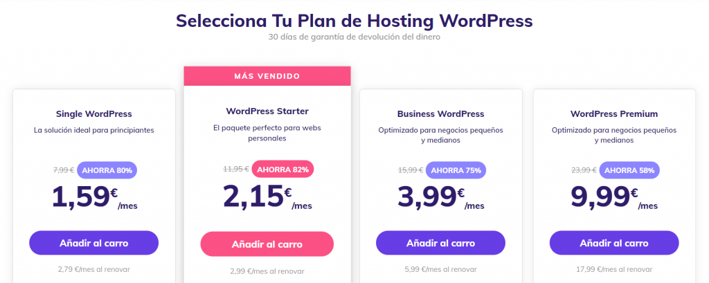 Plan de WordPress de Hostinger