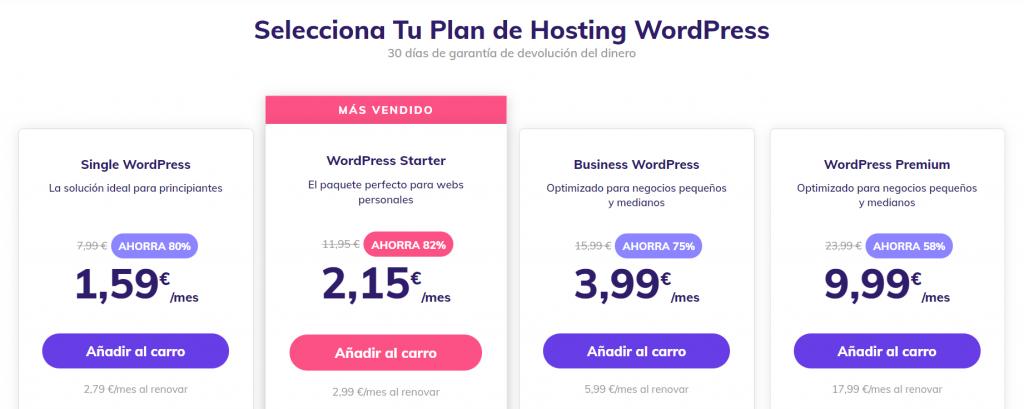Plan de WordPress de Hostinger