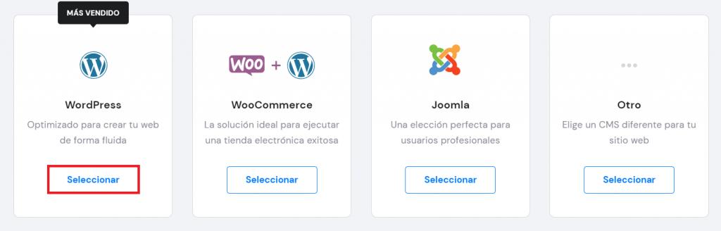 Seleccionar WordPress en el hPanel de Hostinger