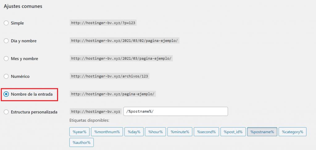 Marcar Nombre de la entrada en Ajustes de enlaces permanentes en WordPress