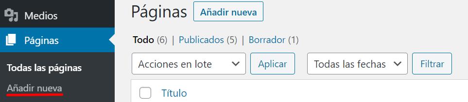 Añadir nueva página en el panel de WordPress