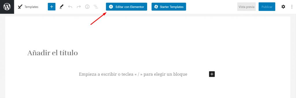 Editar con Elementor una página en WordPress