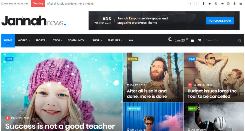 Página del tema de WordPress Jannah