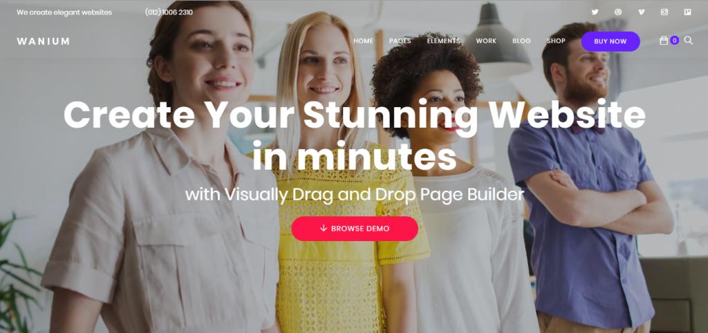 Página del tema de WordPress Wanium