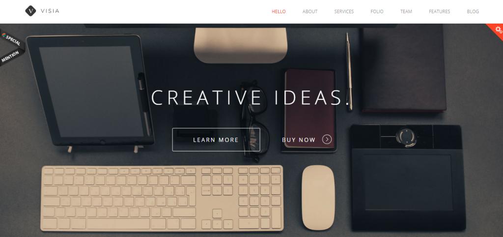 Página del tema de WordPress Visia