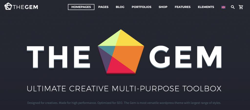 Página del tema de WordPress TheGem