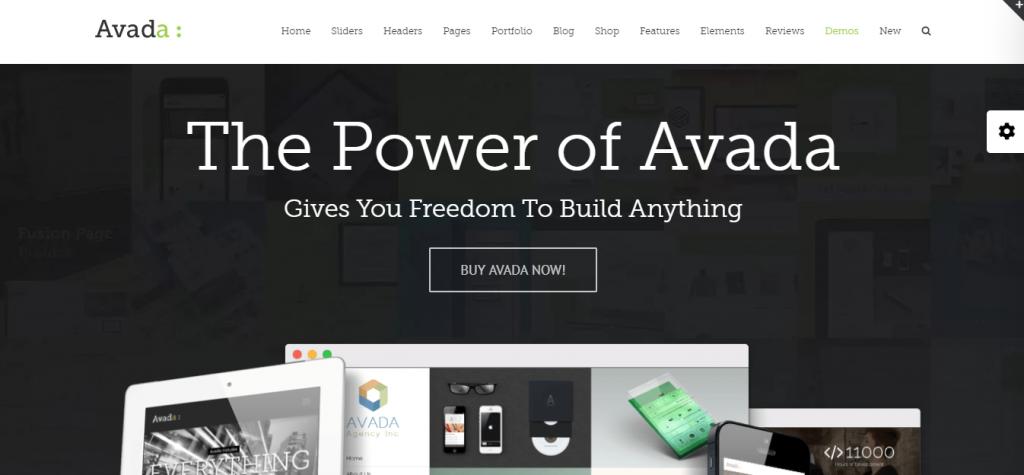 Página del tema de WordPress Avada