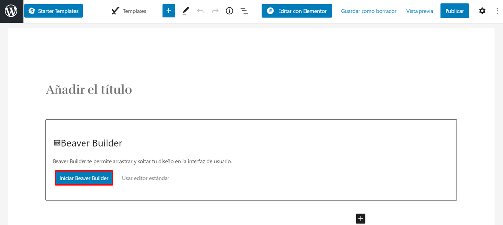 Iniciar Beaver Builder en una página de WordPress