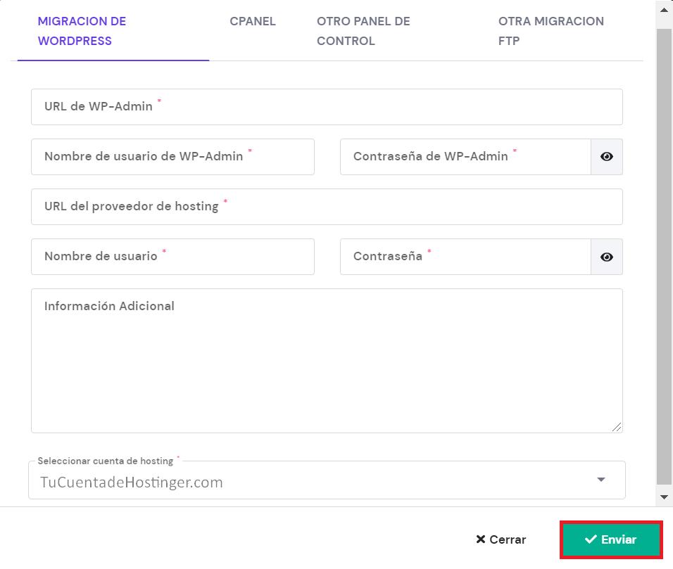 Completar los datos para la migración de WordPress en el hPanel