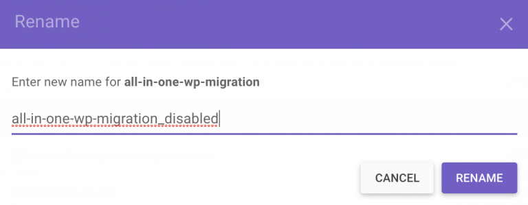 Quitar un plugin agregando la palabra disabled