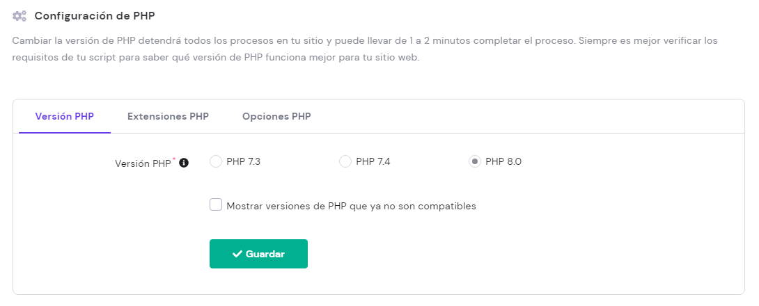 Selecciona la configuración PHP correcta para tu sitio de WordPress