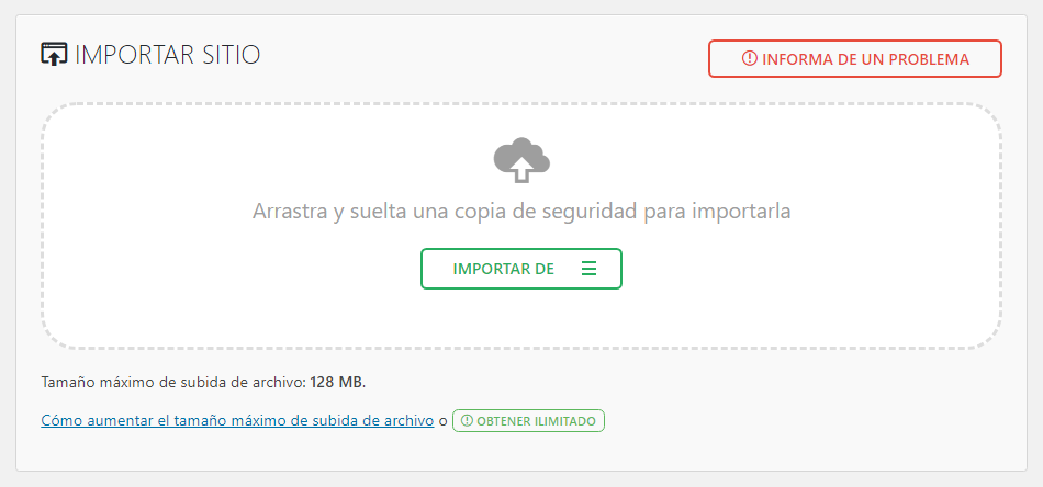 Función de Importar sitio en All in One WP Migration