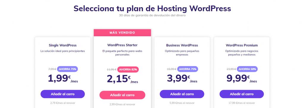 Planes de alojamiento para WordPress de Hostinger