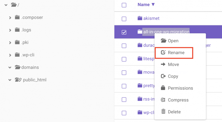 Clic derecho para renombrar un plugin
