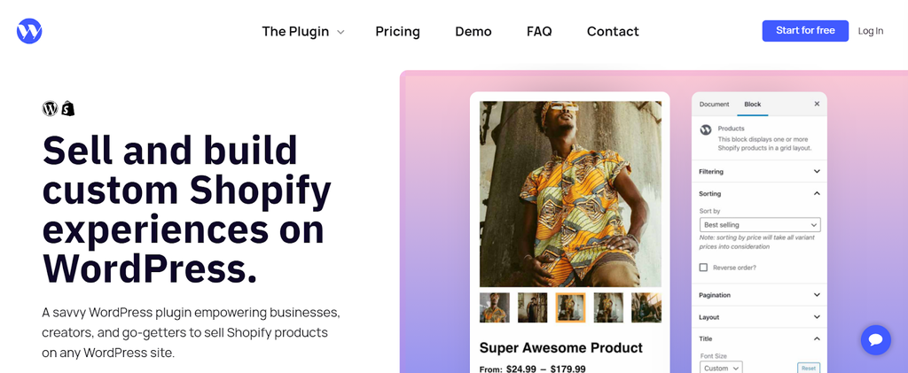 Página de inicio de WP Shopify, plugin para tiendas online de WordPress