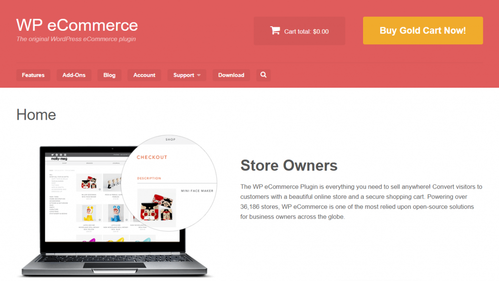 Homepage de WP eCommerce