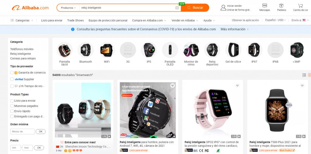 Productos electrónicos en Alibaba.