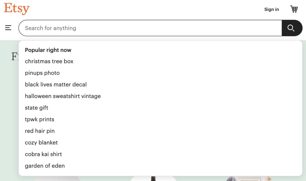 Términos populares en el buscador de Etsy.