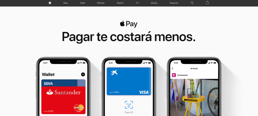 Página de inicio de la pasarela de pago Apple Pay