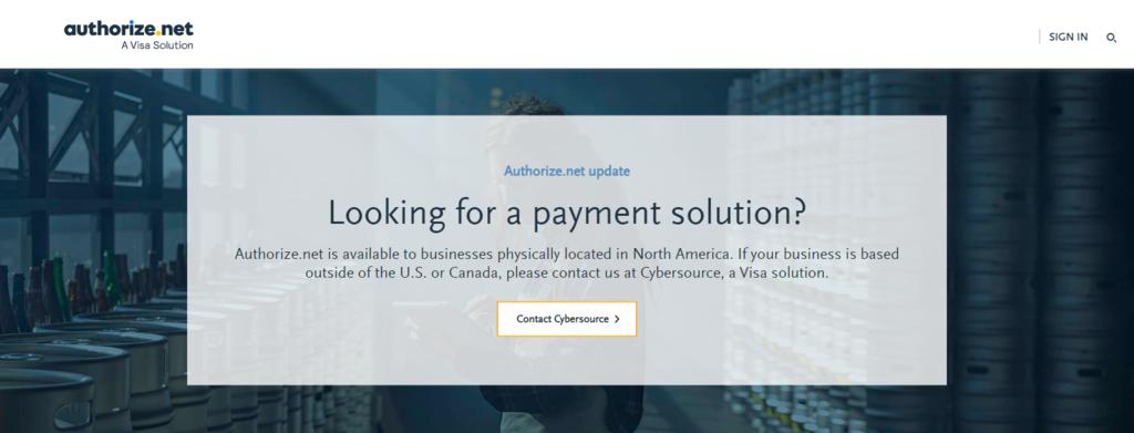 Página de inicio de Authorize.Net
