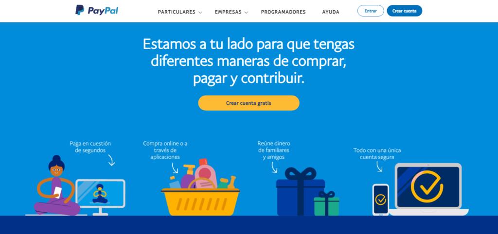 Página de inicio de la pasarela de pago PayPal