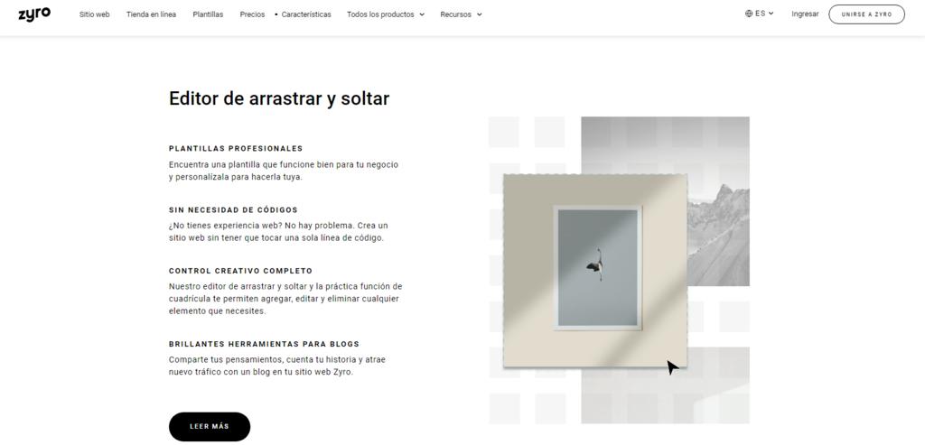 Características del constructor de sitios web Zyro