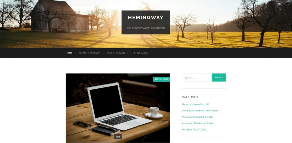 Demostración de la plantilla de WordPress Hemingway