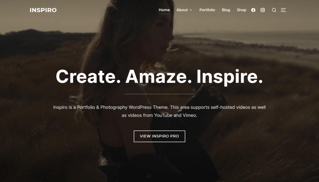 Plantilla de WordPress Inspiro para sitios web de video y fotografía