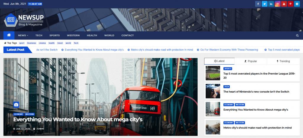 Plantilla de WordPress para sitios de noticias Newsup