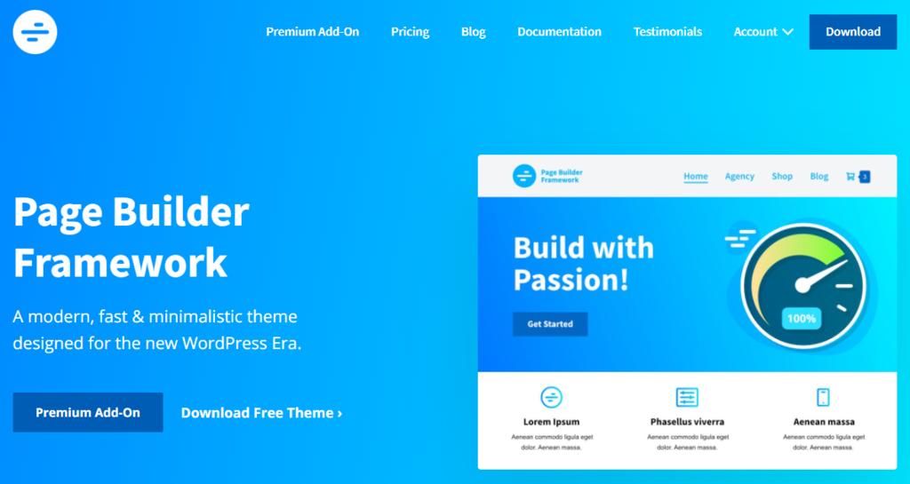 Página de inicio de Page Builder Framework